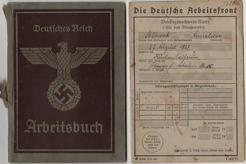 Arbeitsbuch + DAF-Karte Anneliese Schnock (Junkers Flugzeugwerke)