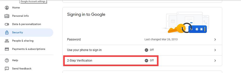 2-Step verification off