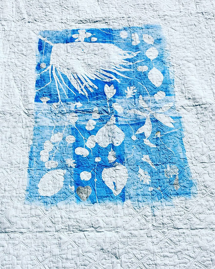 Minimal Botanical Mono-Print Quilt
