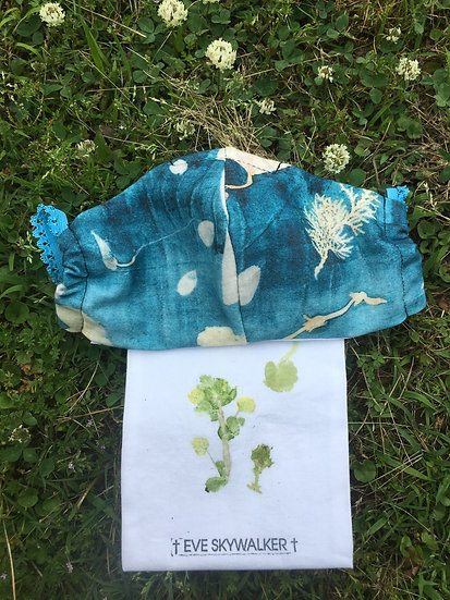 Dancing Vine Custom Botanical Print Cotton Jersey Face-mask