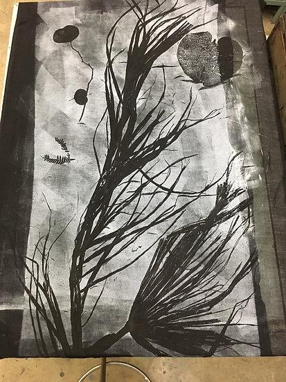 Large Silk Botanical Mono-Print Scarf