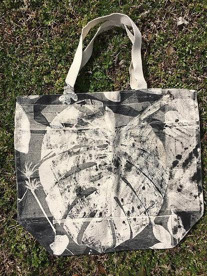 Large Cotton Canvas Botanical Print Bag w/Pockets