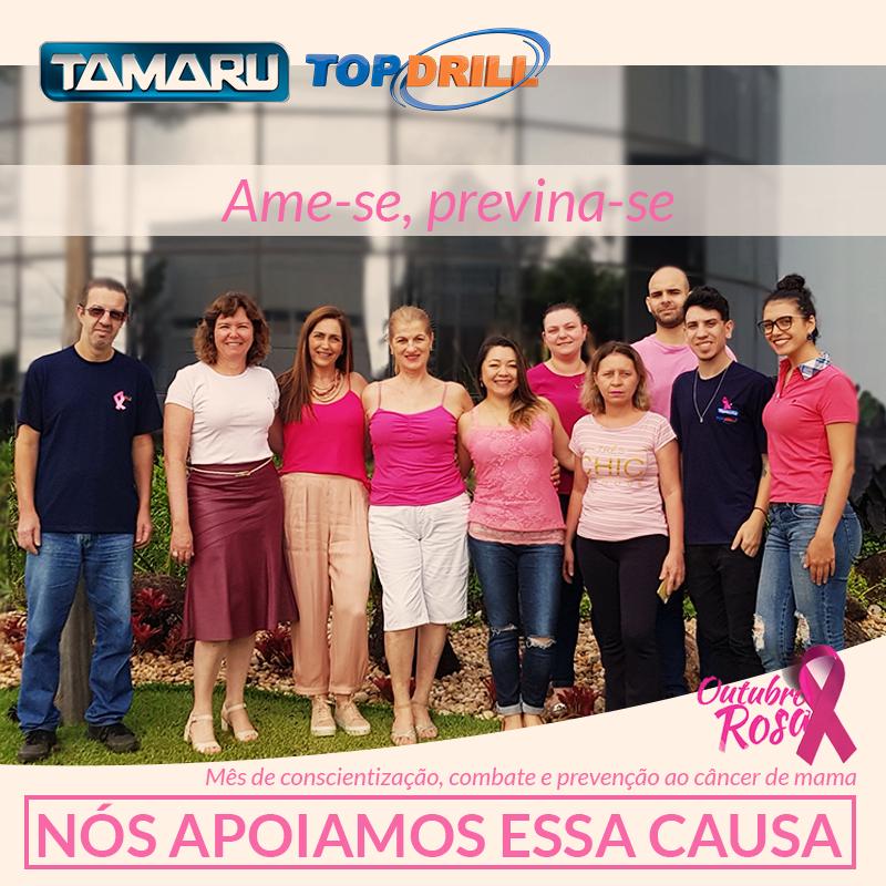 Equipe interna Tamaru reunida Condomínio Compark em apoio à campanha Outubro Rosa de Combate ao Câncer de Mama