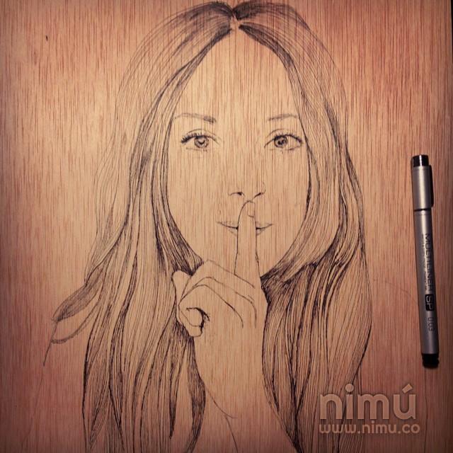 Retrato sobre madera