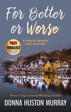 Cover image with award badge for cozy mystery For Better or Worse
