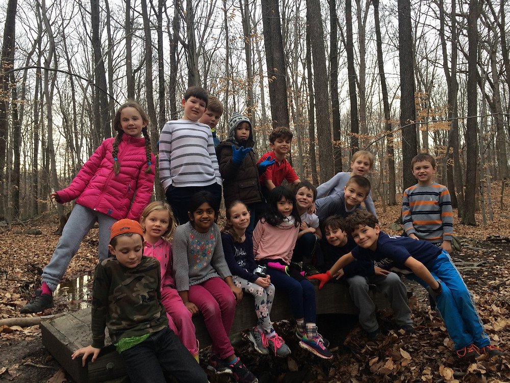 1st and 2nd grade students on the trail!