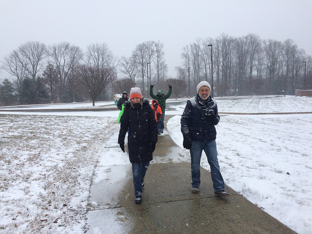 Mr. Piasecki and Mrs. Allen enjoying the snow!