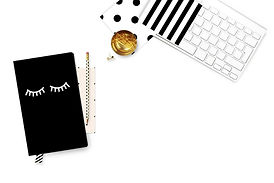 Notepad with lashes, brush with Keyboard