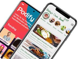 Mobile app builder, mobile app development, podcast mobile app, recipes mobile app, content mobile app