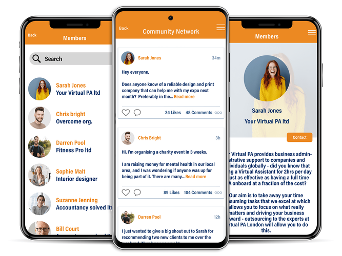 Networking mobile app, chat, engage, profile