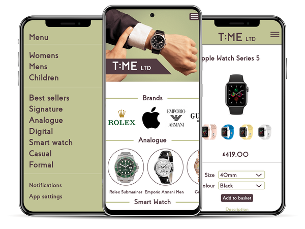 mobile app, ecommerce mobile app, ecommerce app, watches app