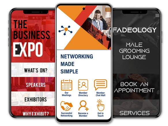 Mobile app builder, mobile app development, exhibition mobile app, networking mobile app, barber mobile app