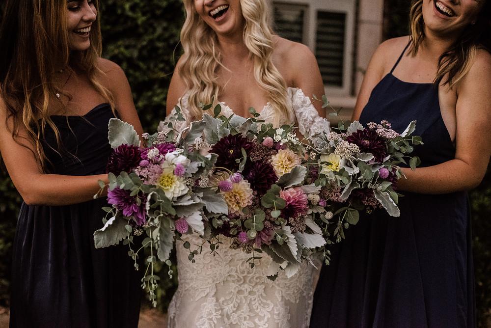 Dahlia Bridesmaids Bouquets
