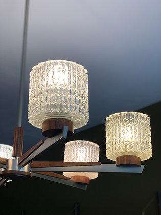 Mid century vintage chandelier/ kroonluchter teakhout glas 6- armig