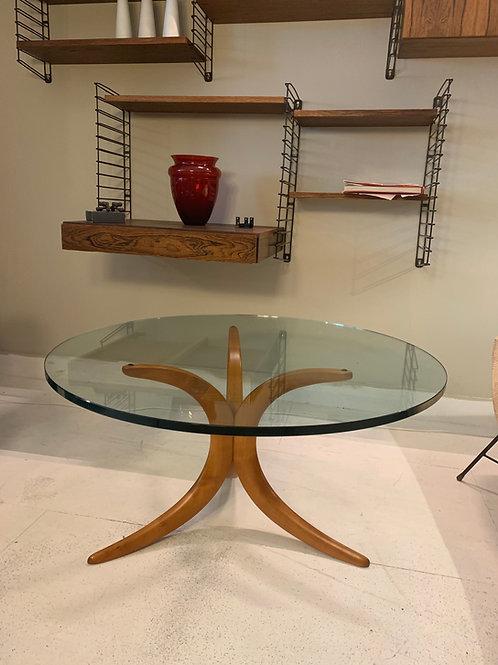 Vintage glazen salontafel rond Deens design ronde tafel