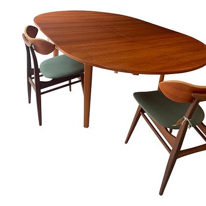 Vintage Deense design tafel rond uitschuifbaar