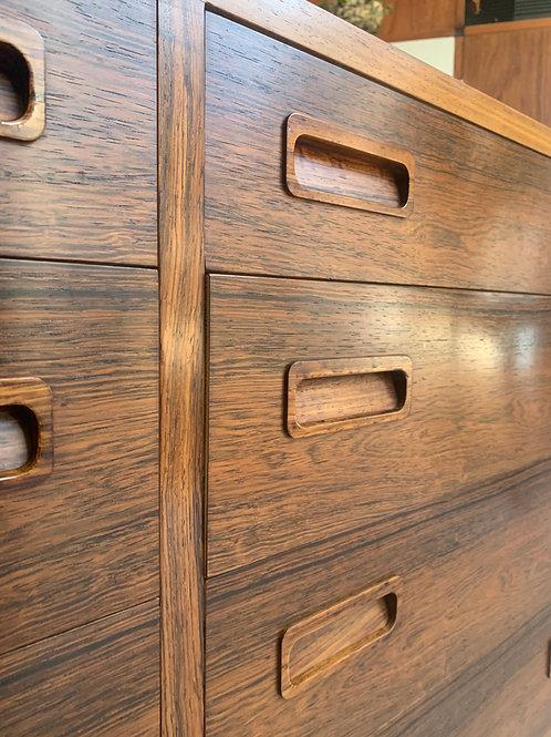 Vintage Deens dressoir Poul Hundevad, palissander ladekast