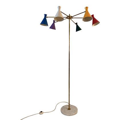 Multi coloured vintage design floorlamp Italy 1950