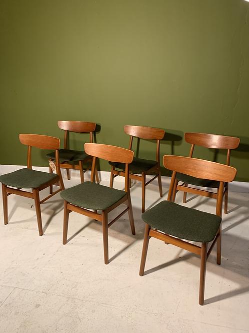Vintage Deense eetkamerstoelen van Findahls