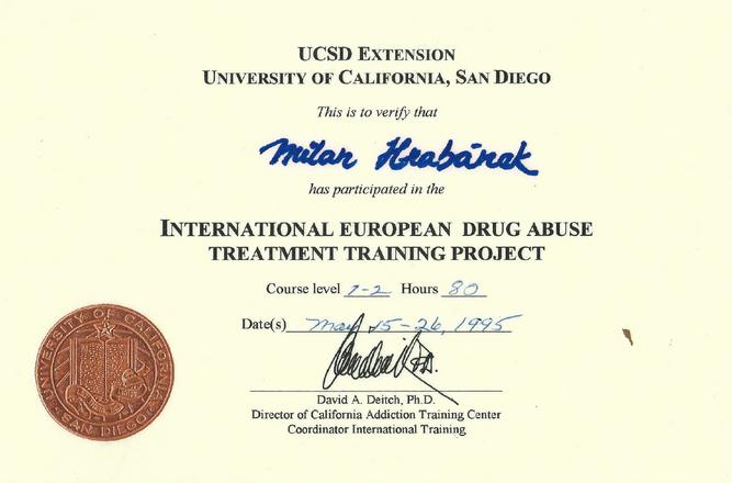 Certifikát Drug Abuse Treatment Project 2