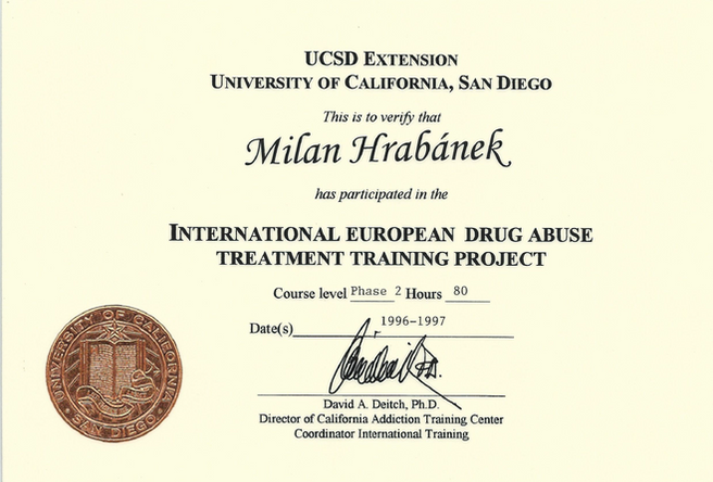 Certifikát Drug Abuse Treatment Project 1