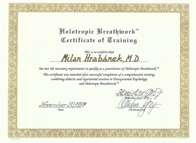 Certifikát k holotropnímu dýchání
