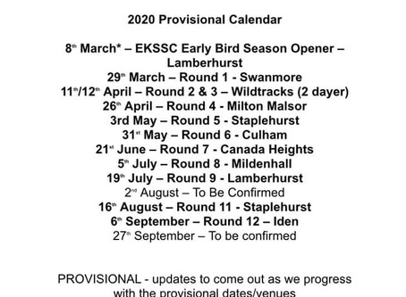 Updated Calendar for the 2020 season