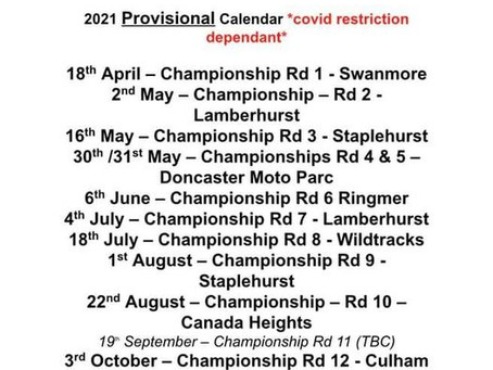 Provisional Calendar 2021 Updated