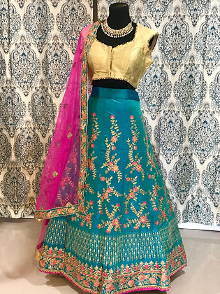 Blue and Pink Embroidery Lehenga