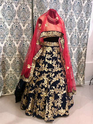 Navy Blue with Gold floral working Lehenga