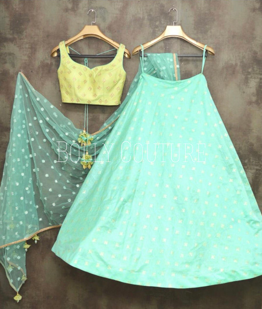 This design can be design in any style (Lehenga, Anarkali, Short dress etc) in any color. Styling (blouse style, sleeve length etc) can be customized.