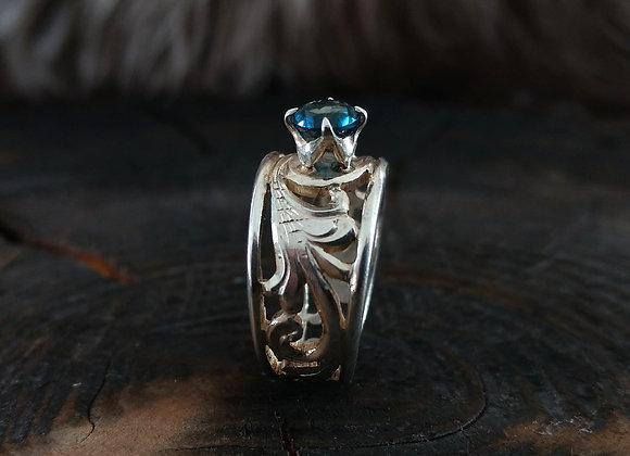 Fancy Blue Topaz Ring - size 8