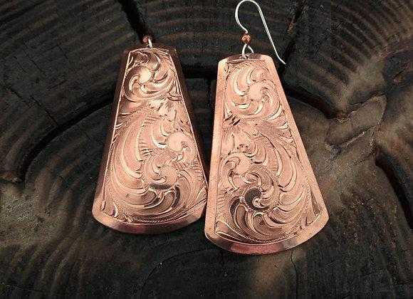 Copper formed earrings