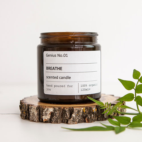 Personalised 'Breathe' Wellbeing Scented Candle
