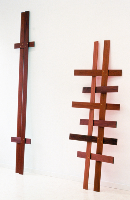 Mahogany Lattice V and VII 1997 oil paint on mahogany, brass  211,7x34cm and 161x55,5cm