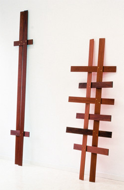 Mahogany Lattice V and VII 1997 oil paint on mahogany, brass  211,7x34cm and 161x55,5cm