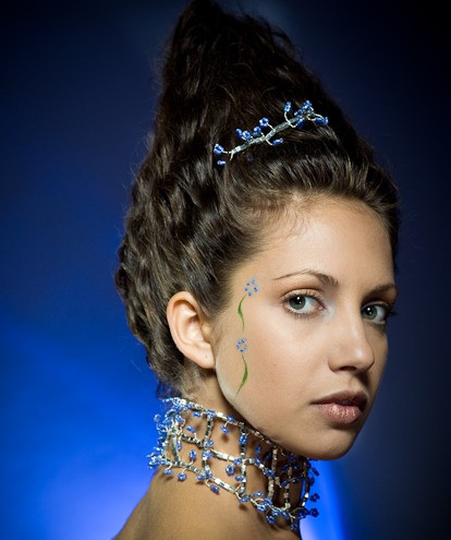 Model with brown wavy hair that towers upward using a hidden support structure underneath hair. Two sections of blue dots of paint make a circular flower with a single green painted stem for each flower. Hand made silver and blue tiara and wide choker necklace. Simple makeup with golds and bronze tones.