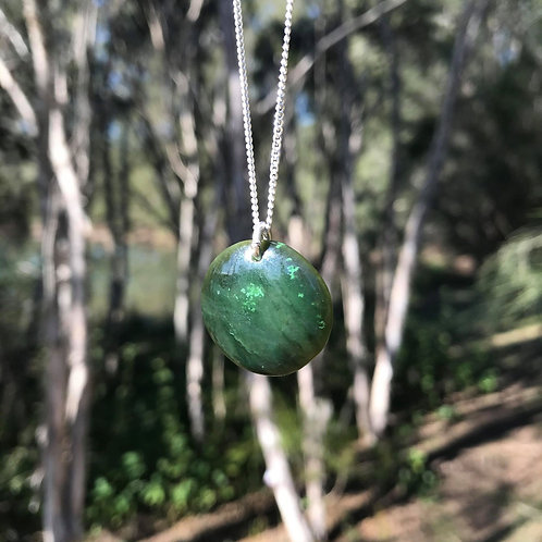 Circle pendant on silver chain (Canadian jade)