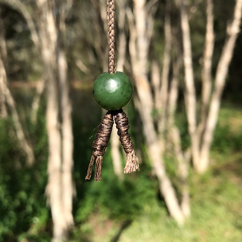 Bead drawstring necklace (Canadian jade)