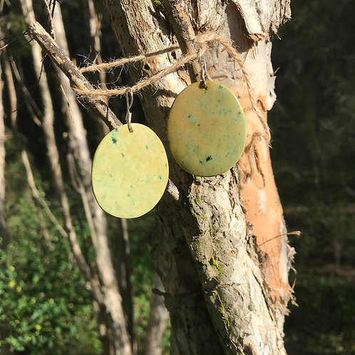Round earrings (New Zealand flower jade)