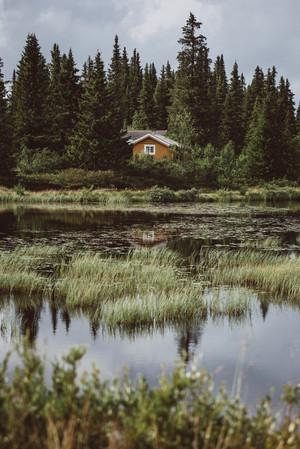 Cabin near small lake in Gausdal, Norway