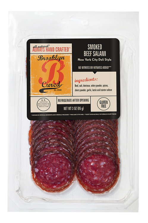 Smoked Beef Salami, presliced, 3 oz. (Pack of 3)