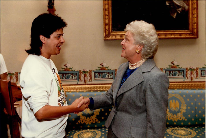 Phil with Barbara Bush at White House.fb