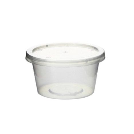 Tarrina de plástico transp. 120 ml con tapa (100 uds).