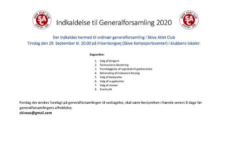 Indkaldelse Generalforsamling