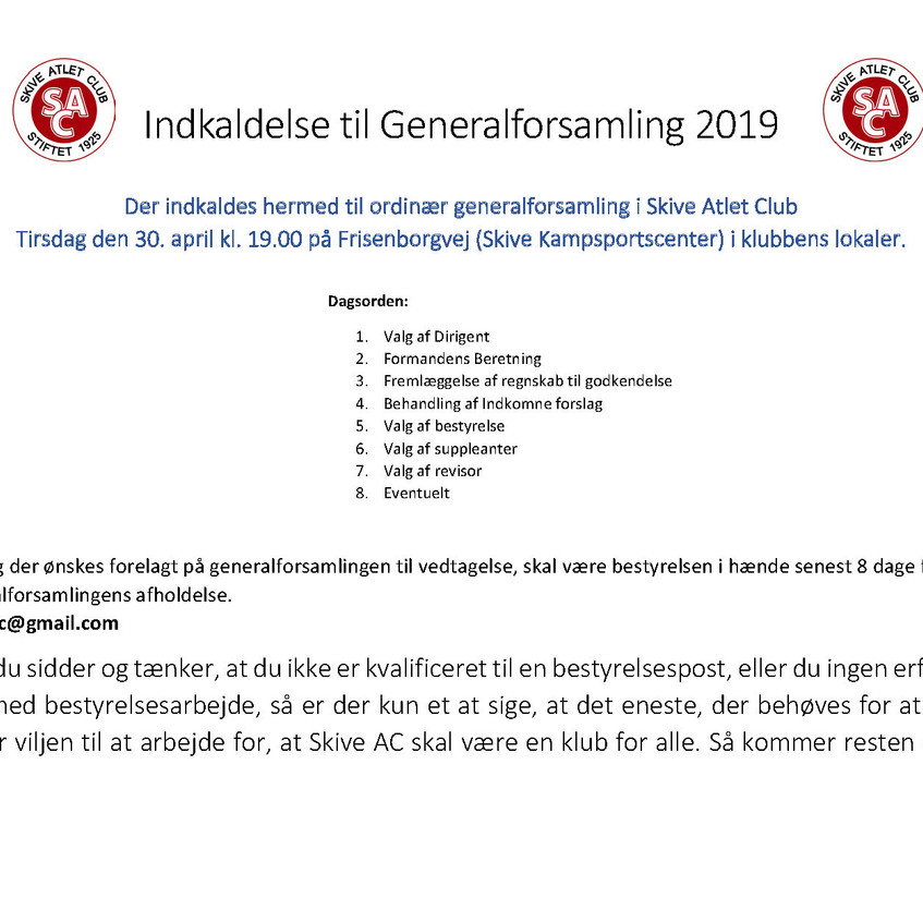 Indkaldelse generalforsamling 2019