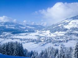 Aussicht auf Westendorf im Winter vom Zi