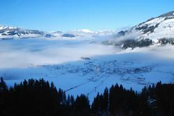 Aussicht auf Westendorf im Winter