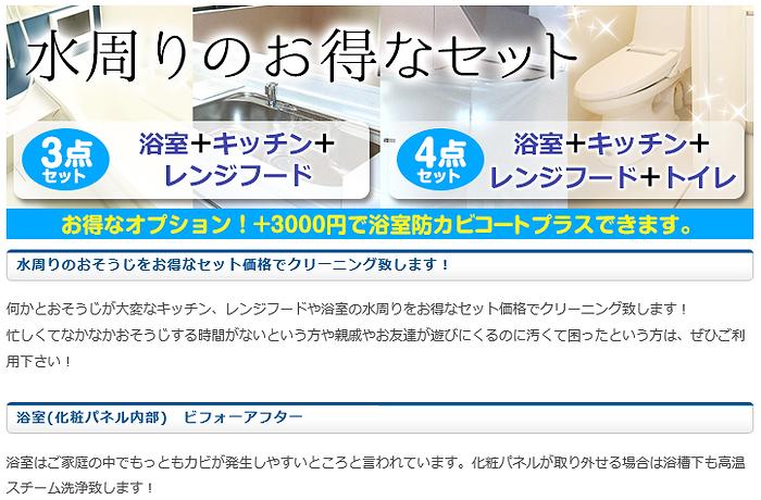 水周りクリーニングセット 大阪 お得