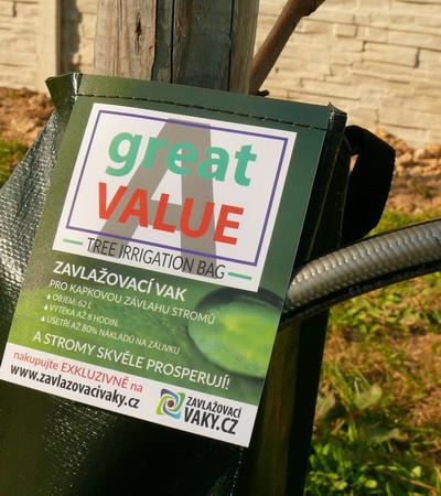 Zavlažovací vaky Great Value Logo - krytí plnícího otvoru